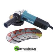 082HE9557NBDX – Amoladora angular Makita 115MM 9557NBDX + Maletín metal