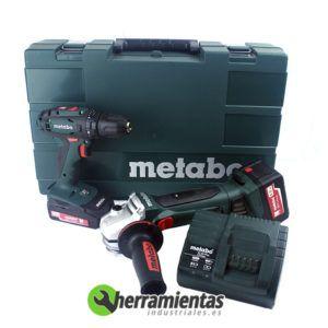 068HE68508200 – Kit Metabo Amoladora W 18 LTX 125 + Atornilladora BS 18 + 2 Baterias + Maletín plástico