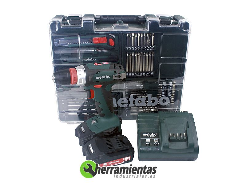 set metabo bs 18 quick 2 bater as 2 0 ah sc 60 plus malet n pl stico herramientas. Black Bedroom Furniture Sets. Home Design Ideas