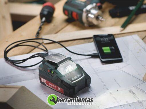 068RM00288(3) – Lintera + cargador Metabo PA 14.4-18 Led-USB